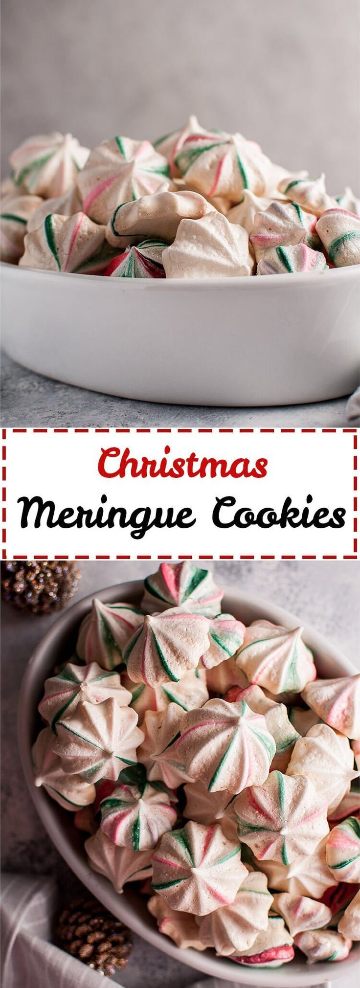 These red and green striped Christmas meringue cookies are light, melt-in-your-mouth, and fun. Flavored with vanilla and almond and swirled with red and green, these sweet treats are extra festive.