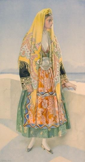 Traditional festive costume from the island of Thasos (northern Greece). Clothing style: late 19th century.