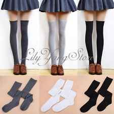 Lady Girl Over The Knee Socks Thigh High Winter Warm Cotton Long Stockings Black