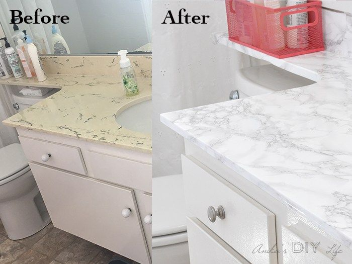 A Before And After Of Diy Marble Contact Paper Project