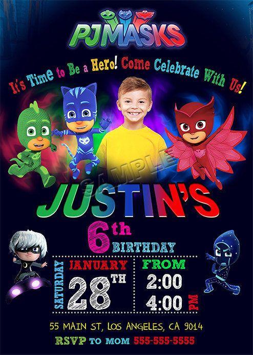 Inspired Pj Masks® Invitation Pj Masks® Birthday by BogdanDesign