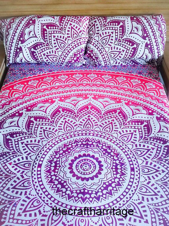 Indian mandala Duvet Cover Queen Quilt Cover Bedding Donna Cover With Two Pillow #Handmade #Traditional