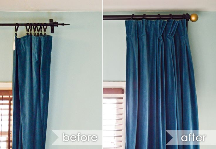 using curtain clips a different way - what a huge difference!  - for the bedroom curtains