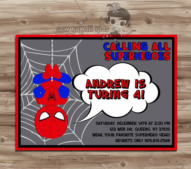 SPIDERMAN Birthday Invitation Spiderman Birthday By SewKawaiiKids, $10.00