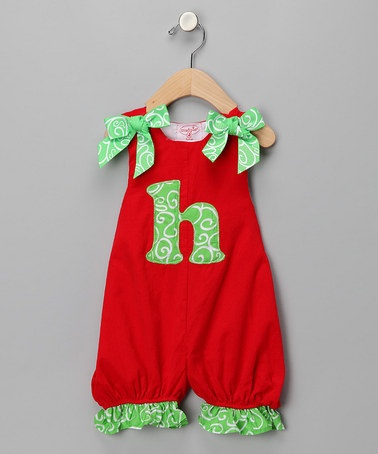 Take a look at this Red 'H' Corduroy Romper - Infant by Mud Pie on #zulily today!