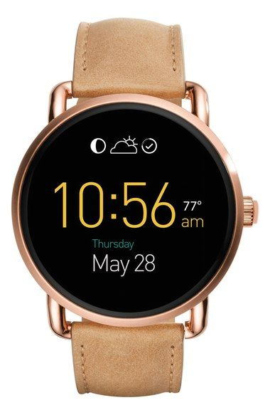 Fossil Q Wander Leather Strap Digital Smart Watch, 45mm available at #Nordstrom