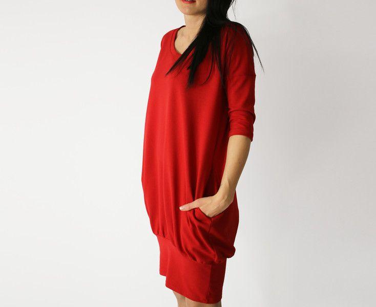 sukienka bombka_czerwona_S_M_L_XL_2XL_3XL_4XL - collibri9 - Sukienki bombki