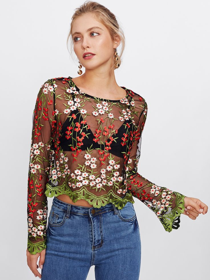 Shop Embroidery Mesh Scalloped Crop Top online. SheIn offers Embroidery Mesh Scalloped Crop Top & more to fit your fashionable needs.