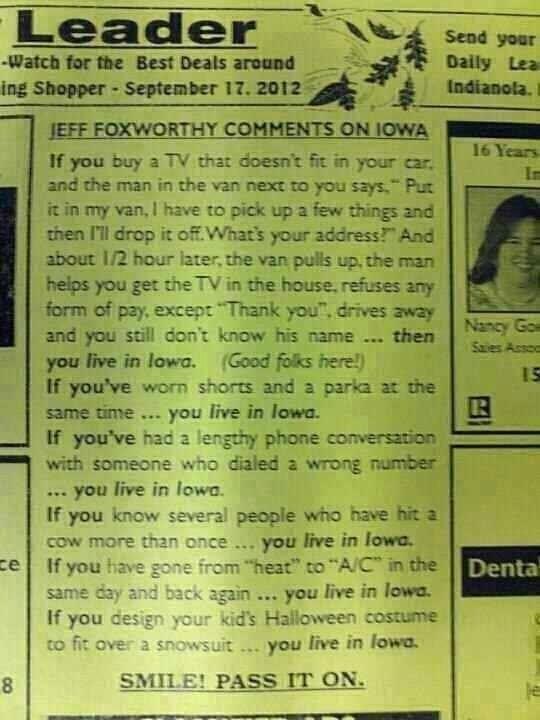 IOWA funny but true; Jeff Foxworthy