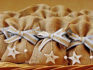 Μπομπονιέρα από λινάτσα με θέμα το αστέρι: ΚΩΔ Ρ016