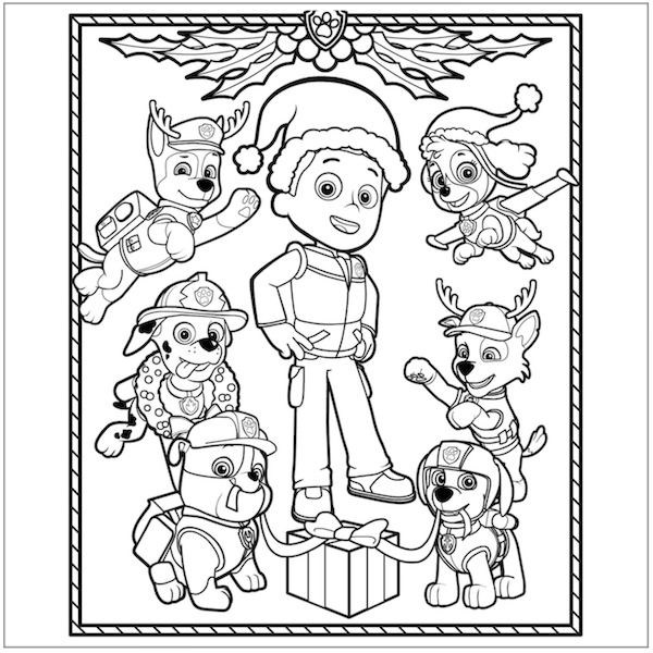 Paw Patrol Fall Coloring Pages : Free paw patrol christmas coloring page pages