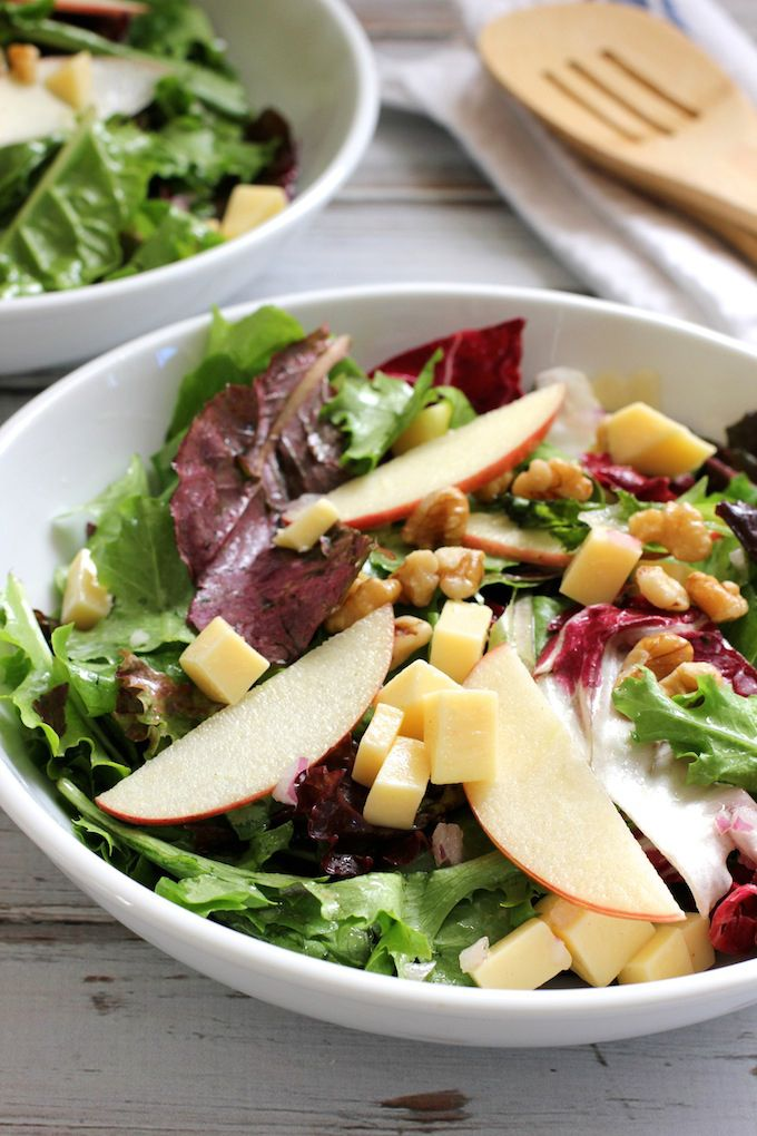 Apple Gouda Walnut Salad. An easy fall salad featuring crisp tart apples, creamy gouda and crunchy walnuts.