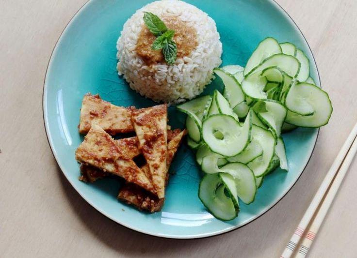 Pinda gember tofu