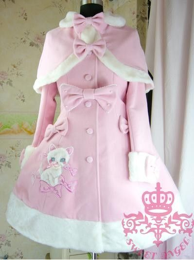 Dream of Lolita PINK Kitten Bow Embroidery Long Jacket