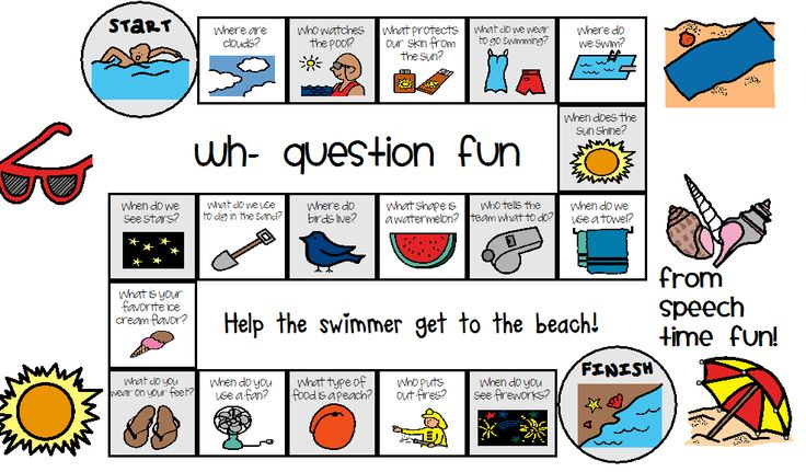 Summer Wh- Question Game Board- A fun summer game that answers WH- questions. From Speech Time Fun. Pinned by SOS Inc. Resources. Follow all our boards at http://pinterest.com/sostherapy for therapy resources.