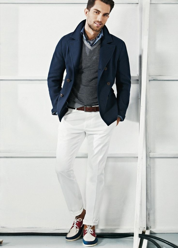 Summer Gentleman Navy Blazer White Jeans And Boat Shoes Men 39 S Spring Summer Fashion