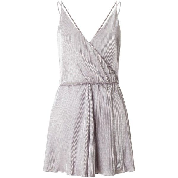 Miss Selfridge Plisse Playsuit, Silver/Grey ($34) ❤ liked on Polyvore featuring jumpsuits, rompers, romper jumpsuit, party jumpsuits, wrap jumpsuit, v neck romper and short rompers
