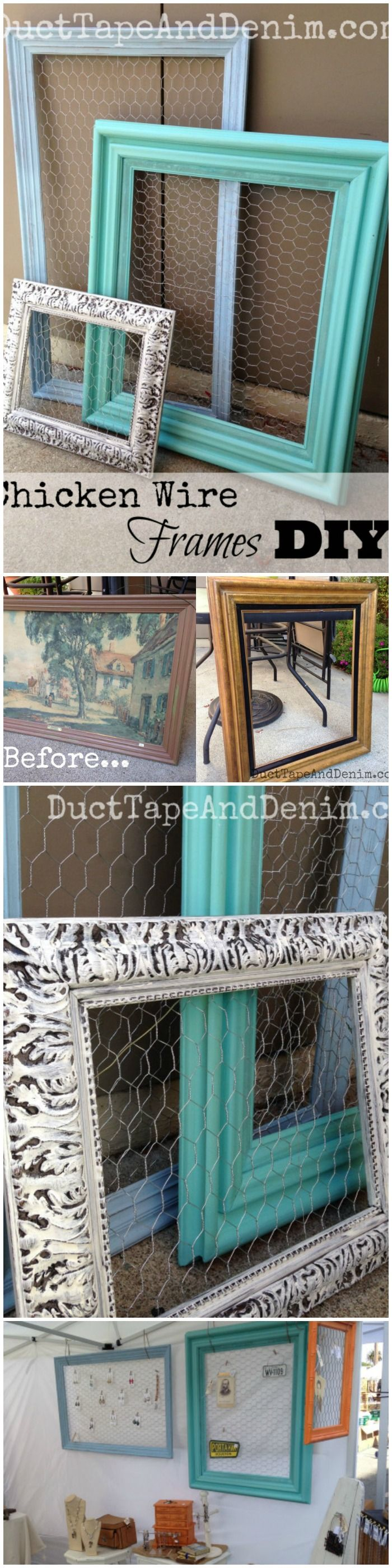 I love finding old vintage frames at thrift stores and garage sales, painting them, adding chicken wire, and using them to display earrings and other jewelry in my flea market booths.  Great for organizing jewelry in your bedroom, bathroom, closet, or dressing room, too.  | DuctTapeAndDenim.com