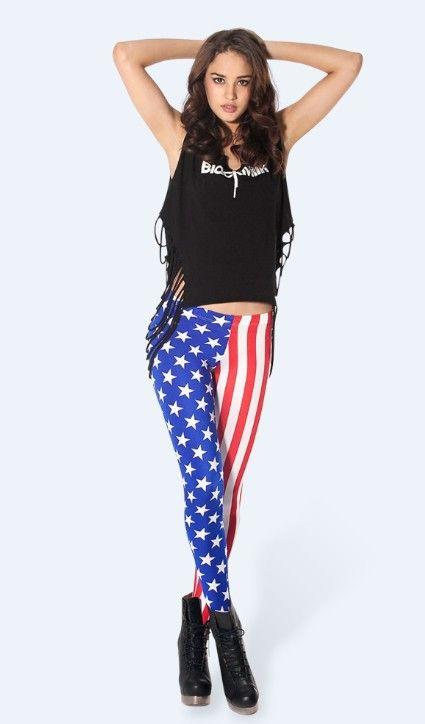 US Flag Print Lycra Leggings $19.98