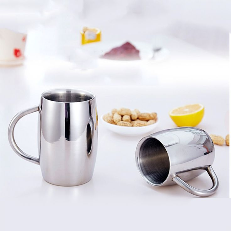 1pcs 550ml 350ml Stainless Steel Double Wall Air Insulated Beer Beverage Mug Coffee Cup Silver. Click visit to buy #Mug