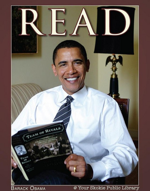 U.S. President Barack Obama by Skokie Public Library, via Flickr: Obama Reading, Presidents Obama, People Reading, U.S. Presidents, Reading Posters, Presidents Barack, Celebrity Reading, Public Libraries, Barack Obama