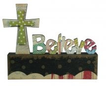 WOODEN WORDS: BELIEVE.    A unique way to display encouraging messages of faith at home or at work. Wooden table top inspiration: 260mm x 30mm x 206mm.