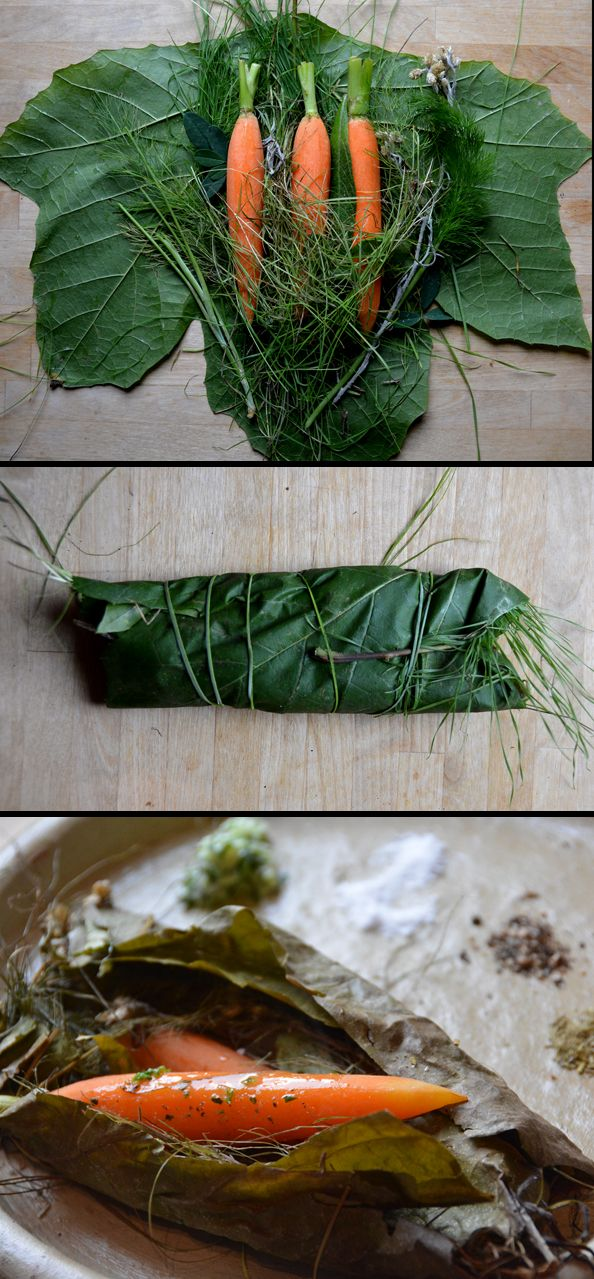 Baby carrots oven cooked in local forest herbs (fennel, grass, sweet clover, touch of sagebrush), wrapped in Sycamore leaf and yucca whipplei fiber - served with clover butter, home made sea salt, pepper and our wild spice blend. For our private dinner next weekend.