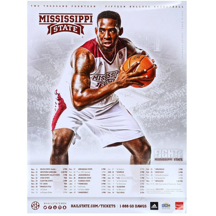 No. 20 Mississippi State Bulldogs 2014 Basketball Schedule Poster