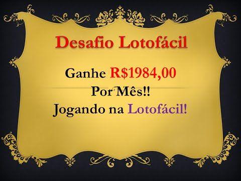 Desafio Lotofacil Como Ganhar na Loteria - YouTube
