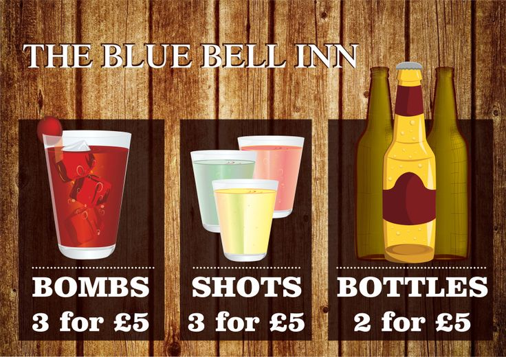 Graphic Design of A4 flyer for The Blue Bell Inn Nottingham. Designed by Minuteman Press, Nottingham