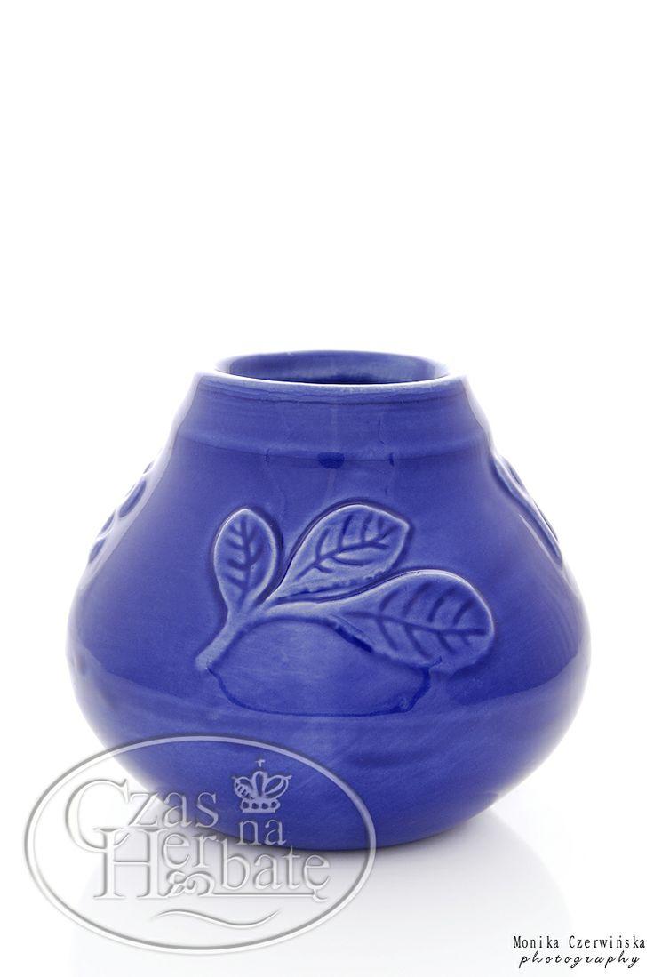 Ceramiczne matero z listkiem w kolorze niebieskim