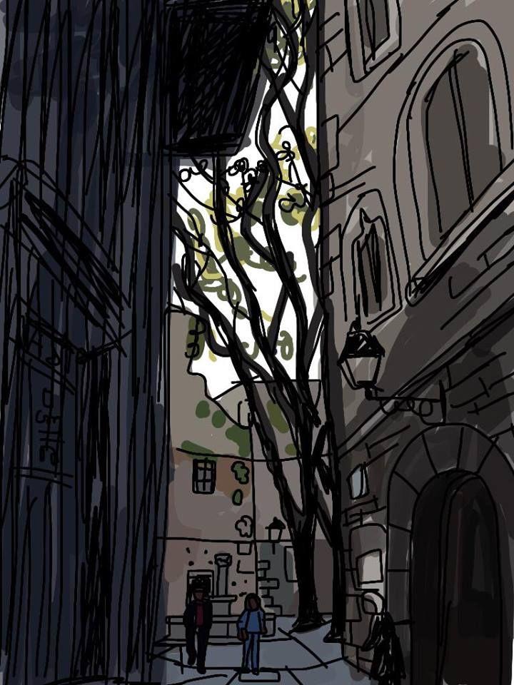 Barcelona Postales. Una mañana húmeda en la Plaza de San Felipe Neri en el Gotic. By Mariscal