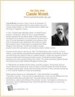Hey Kids, Meet Claude Monet | Biography - http://makingartfun.com/htm/f-maf-printit/monet-printit-biography.htm