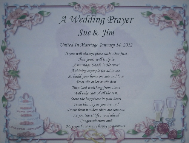 Poems To Read At Wedding: WEDDING PRAYER PERSONALIZED POEM GIFT FOR BRIDE