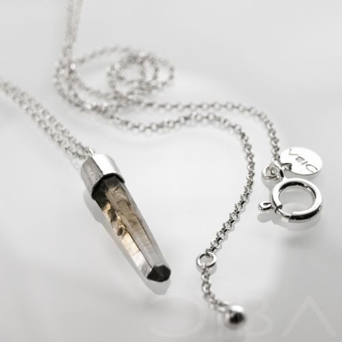 0133  A simple, minimalist silver necklece with intriguing, smoke quartz. The stone is framed in satinated silver and the chain and clasp are polished. Entirely hand made.  $98.45 Click to see details!