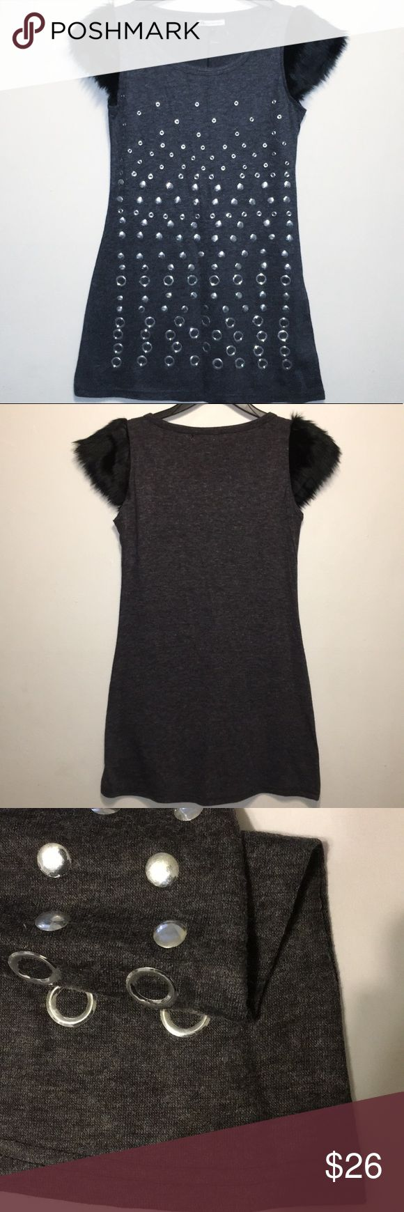 Boutique Brand SMALL Studded Faux Fur Mini Dress ~ Studded Faux Fur Mini Dress ~  Brand: Boutique Brand Size: SMALL Material: Cotton & man-made Faux Fur  condition: NWT, New with tags.   MEASUREMENTS Length:  30in Underarm to underarm: 16in  Thanks for looking! Gioia Dresses Mini