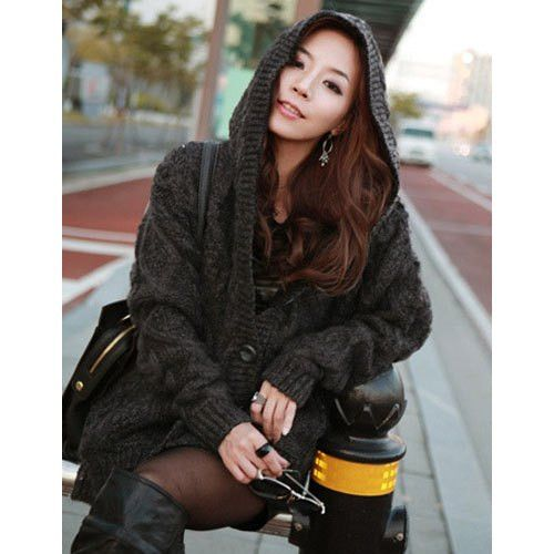 Stylish Cable- Knit Hooded Cardigan For Woman