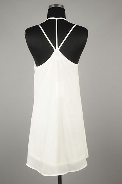 *** New Style *** Cute Sleeveless Woven Shift Dress with Multi Strap Detail and Classic V Neckline.