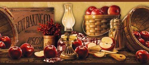 Beautiful Apples Baskets Signs Wallpaper Border KE4914BD