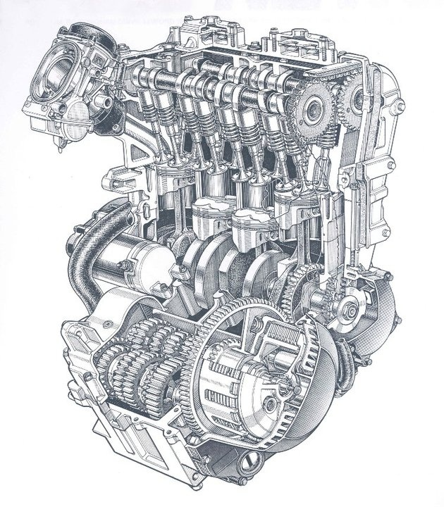 Kawasaki GPZ 600 R 1985 cutaway