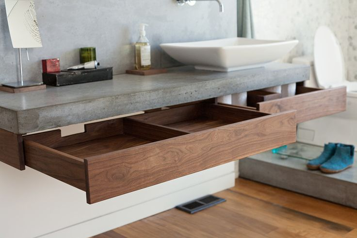 Custom walnut floating drawers for Parkdale Cabinet