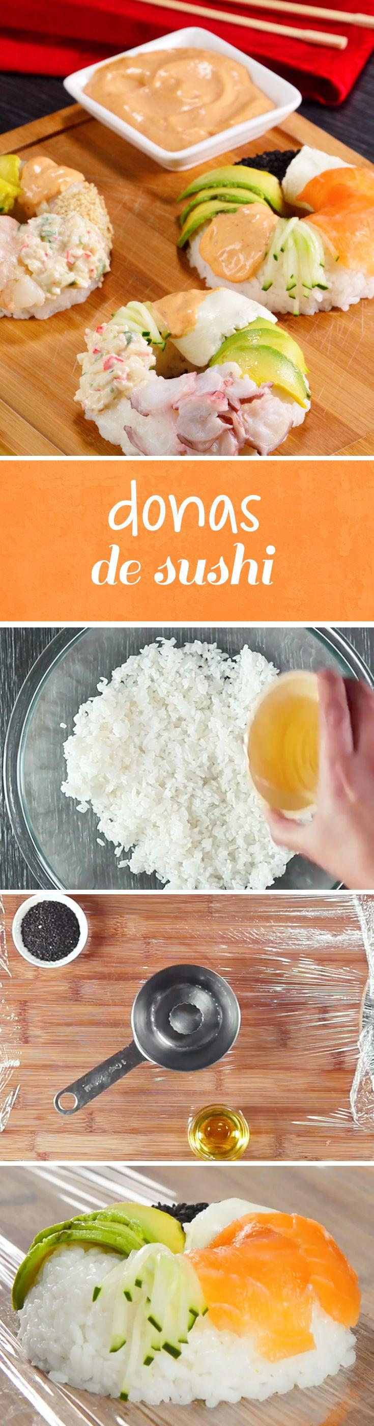 Donas miniatura de sushi. Utilizamos el arroz para sushi para prepara estas increíbles mini donas de arroz con mariscos, pepino, aguacate y salsa tampico. Una excelente opción para reuniones en #cuaresma o si eres fanático del sushi.