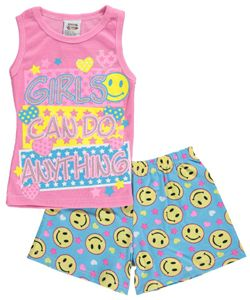 """1000% Cute Little Girls' """"Girls Can Do Anything"""" 2-Piece Pajamas (Sizes 4 – 6X) $4.99"""