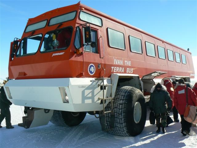 "This is what a bus looks like in Antarctica. ""Ivan the Terra Bus"" unloads passengers at McMurdo Station."
