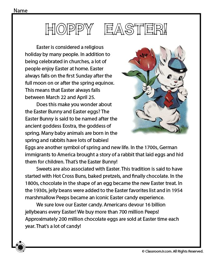 Four New Easter Worksheets to Print Easter History Reading One-Page – Classroom Jr.