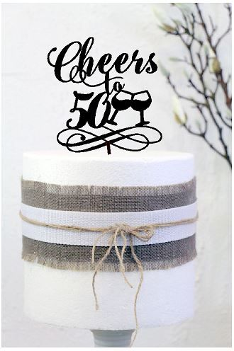 Cheers to 50 cake topper