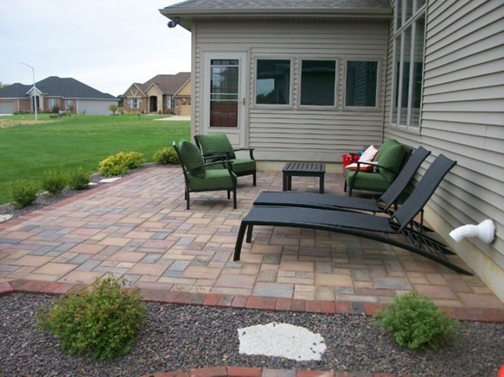 backyard patio ideas : patio paver good laying pavers on concrete patio with modified basket weave floor tile patterns also a pair of contemporary outdoor chaise lounge and rectangular coffee table
