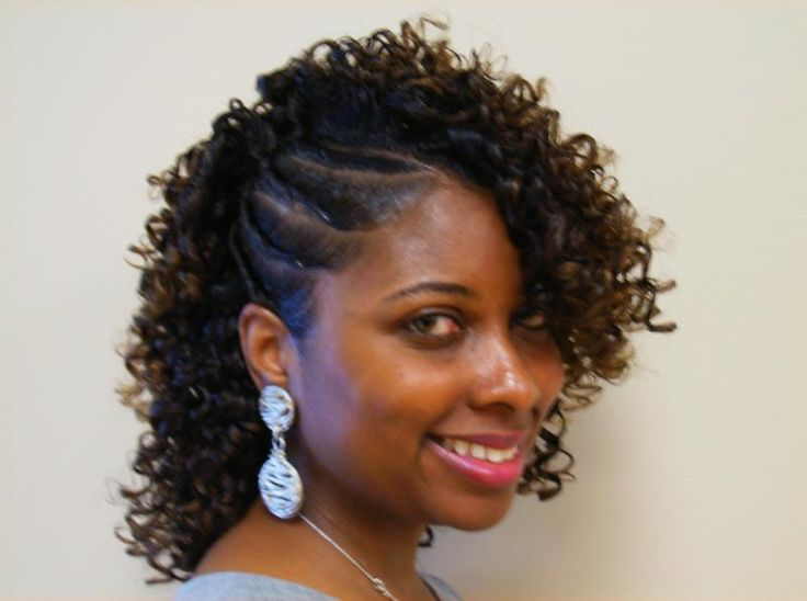 Flat Twist And Straw Set Curled Hair With Braid Twist