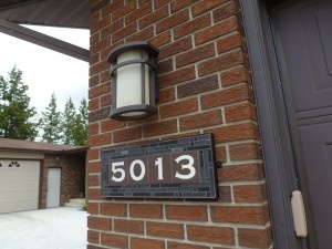 House Numbers   The Tile and Iron Studio   Black Cathedral 5013 Installed