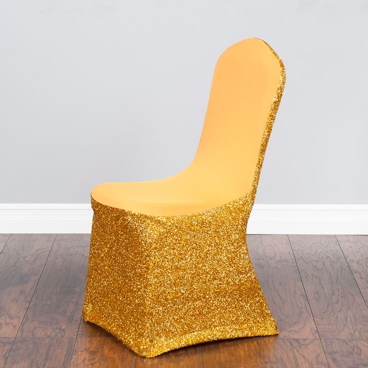 Glitter stretch chair covers transform ordinary banquet chairs into a glamorous statement. Perfect for a high-energy, stylized banquet event or party, a gold glitter stretch chair cover sparkles brightly underneath venue lights. Featuring a lustrous silver tinsel backing, our glitter chair covers set the stage for festive occasions and are easy to set up with chair leg inserts.      Note: Dry clean only. Do not machine wash this product.  Fits round-top banquet chairs with these approximate…
